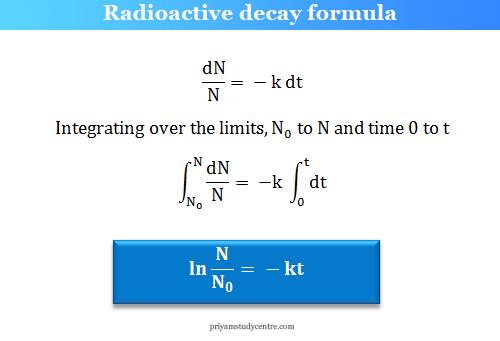 radioactive decay formula in chemistry