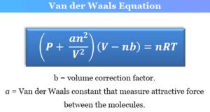 Van der Waals equation for real gases derivation and formula