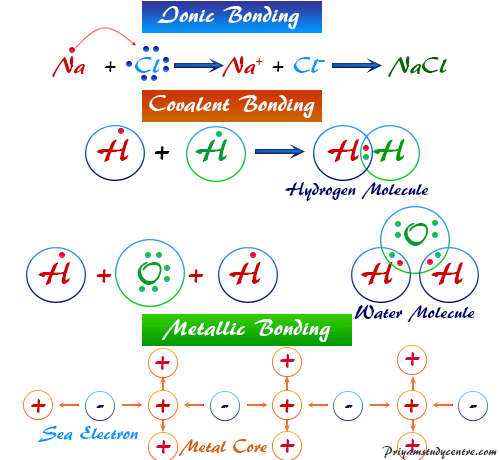 Different types of chemical bonding (ionic, covalent, metallic bonds) in the common compound