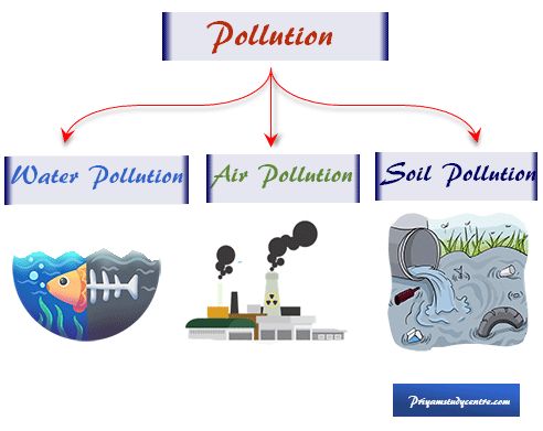 Environmental pollution caused by pollutants are types of substances or forms of energy which harmful effects on air, water, land, or soil in our earth