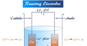 Reacting electrode participate in the electrolysis reactions either by contributing ions to the solution or accepting the discharged ions from the solution