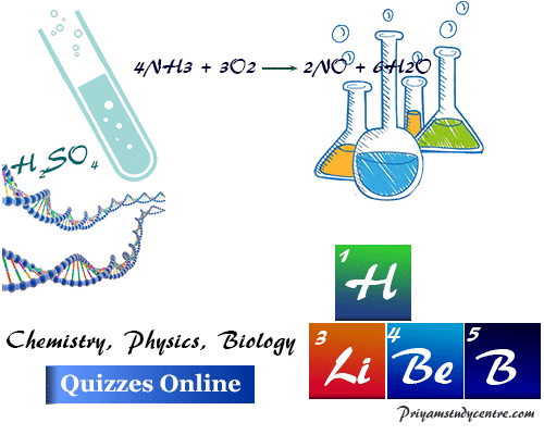 Chemistry, physics, biology online quizzes for school college students competitive examination