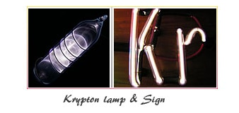 Krypton element tube or lamp, sign, uses and properties