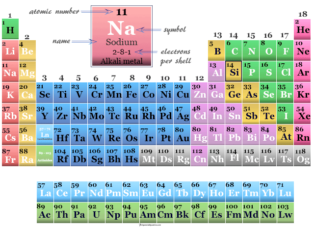Position of alkali metal Sodium on the periodic table elements