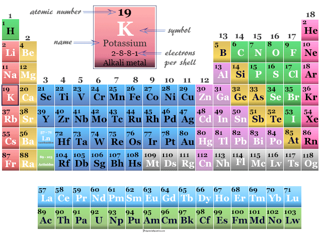 Potassium, alkali metal position on the periodic table elements