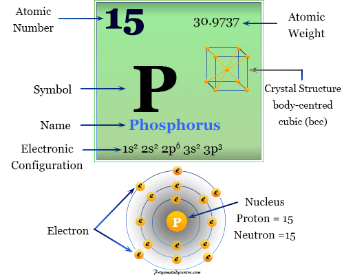 Phosphorus chemical element symbol P with periodic table properties