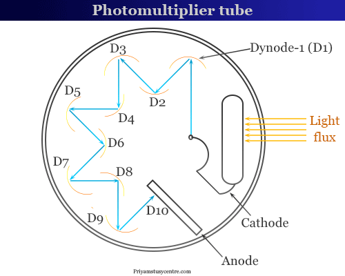 Photomultiplier tube, a components of spectrophotometer in spectrophotometry